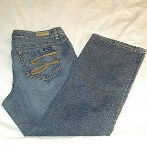 Seven7 - Blue Mid Wash Denim Straight Leg Jeans